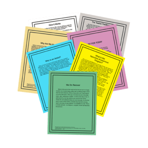 Set of seven NA reading cards commonly read in NA meetings.